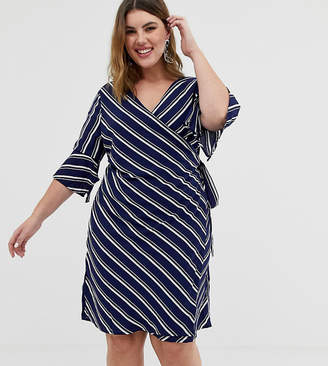 Asos Unique21 Hero 3/4 sleeve striped wrap front dress-Blue