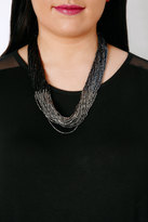 Yours Clothing Navy Blue & Silver Ombre Beaded Statement Necklace