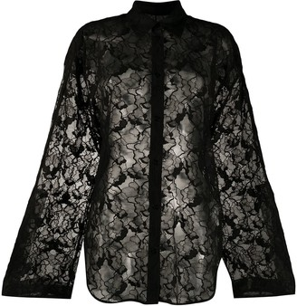 MSGM Sheer Floral Lace Shirt
