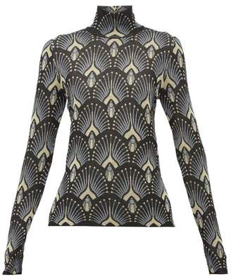 Paco Rabanne Metallic Pattern-jacquard Sweater - Womens - Black Multi