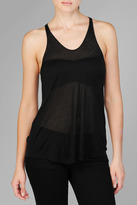 7 For All Mankind Sheer Knit Woven Tank In Black