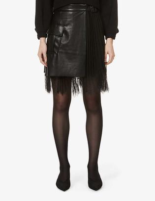 Self-Portrait Pleated-panel high-waist faux-leather mini skirt