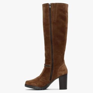 Daniel Leela Tan Suede Buckle Strap Knee Boots