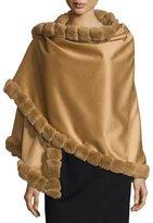 La Fiorentina Asymmetric Cashmere Wrap w/ Rabbit Fur, Camel