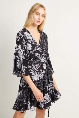 French Connenction Ellette Crepe Frill Wrap Dress