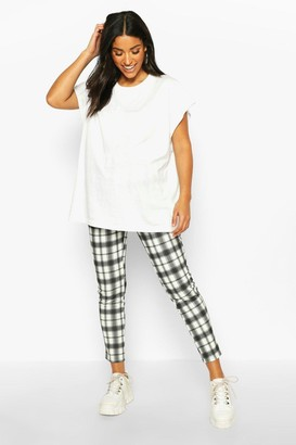 boohoo Maternity Check Tapered Trouser