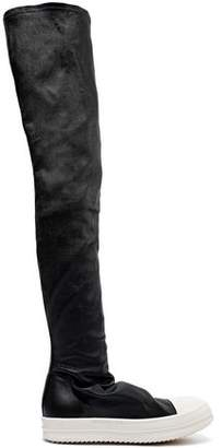 Rick Owens Rubber-trimmed Stretch-leather Thigh Boots