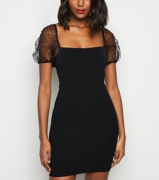 New Look Spot Organza Sleeve Bodycon Dress
