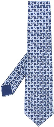 Hermes 2010s Pre-Owned Riding Boot Print Tie
