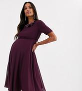Asos DESIGN Maternity crop top embellished neckline midi dress