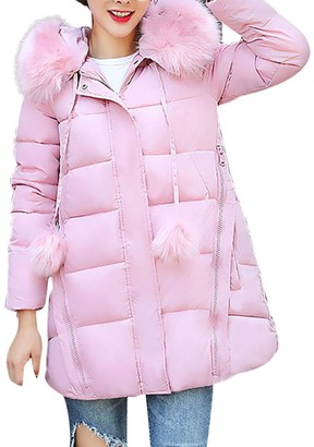 HOMEBABY Womens Slim Down Lammy Jacket Ladies Winter Hooded Padded Coats Down Puffer Quilted Long Coat Jackets Bubble Overcoat Women Cotton Parka Plus Size 10-22 (XXL