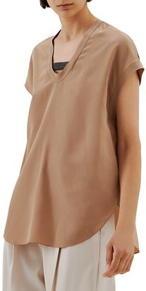 Brunello Cucinelli Short Sleeve Silk Top