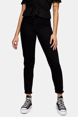 Topshop Womens Black Mom Tapered Jeans - Black