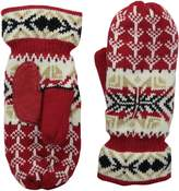 Isotoner Women's Sherpasoft Homespun Snowflake Knit Mitten with Suede Palm Patch