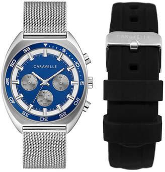Bulova Caravelle Designed by Men Chronograph Stainless Steel Mesh Bracelet Watch 40mm Box Set