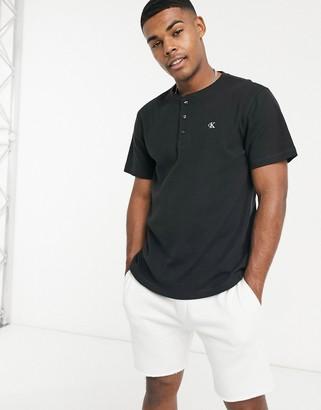 Calvin Klein Jeans Calvin Klein monogram rib henley t-shirt in black