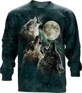 The Mountain Three Wolf Moon USA Long Sleeve T-Shirt