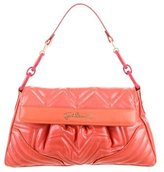 Just Cavalli Metallic Embossed Leather Shoulder Bag