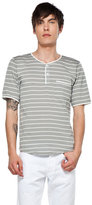 This is Not a Polo Shirt by band of outsiders Henley in Grey/White Stripe