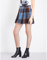 Anglomania Callas tartan high-rise wool-blend mini skirt