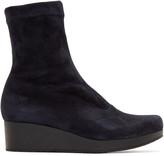 Robert Clergerie Navy Suede Nerdall Sock Boots