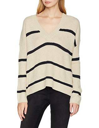 Vero Moda Women's Vmjasmin Ls V-Back Blouse Jumper, Multicolour (Night Sky Stripes: Night with Snow White Stripes), 8 (Manufacturer Size: X-Small)
