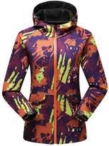 Hengjia Women's Camouflage Hooded Soft Shell Waterproof Jacket Fleece Urban Casual Coat US M /Asia Tag 2XL