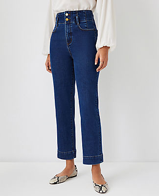 Ann Taylor Quarter Pocket High Rise Corset Easy Straight Jeans in Bright Indigo Wash