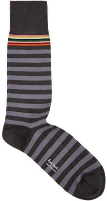 Paul Smith Two Stripe Grey Cotton-blend Socks