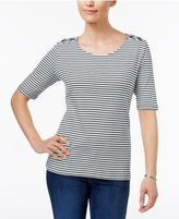 Karen Scott Laced-Shoulder Striped Top, Created for Macy's