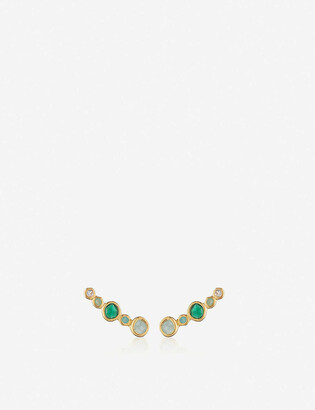 Monica Vinader Siren Tonal Climber 18ct gold-plated sterling silver rock crystal, chrysoprase, green onyx and amazonite earrings