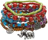 Mudd Bead, & Disc, Eye & Elephant Charm Stretch Bracelet Set