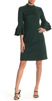 Trina Turk Dylan Tiered Sleeve Mock Neck Dress