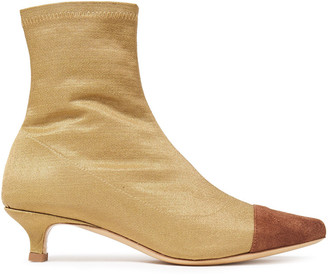 BY FAR Karl Leather-trimmed Stretch-satin Sock Boots