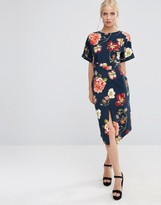 Asos Wiggle Dress in Navy Large Scale Floral Print