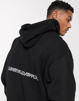 ASOS DESIGN oversized hoodie with unrvlld supply back print