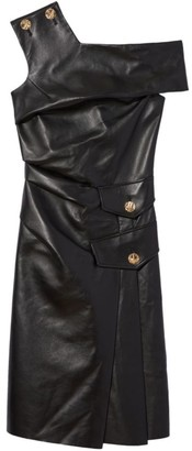 Proenza Schouler One-Shoulder Buttoned Leather Dress