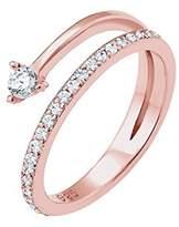Elli Women 925 Sterling Silver Geo Swarovski Crystals Rose gold Plated Ring - Size N 0604170717_54