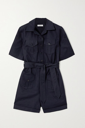 Equipment Paulena Belted Cotton-blend Twill Playsuit - Navy
