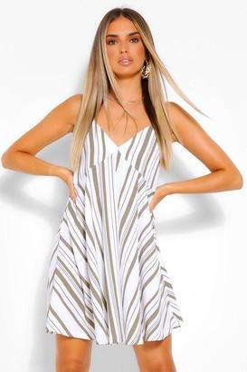 boohoo Striped Linen Strappy Swing Dress