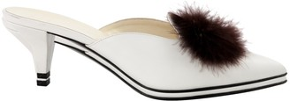 Trademark White Leather Mules & Clogs
