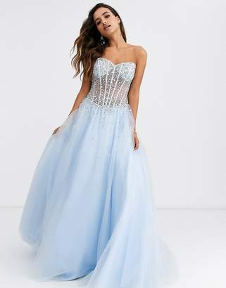 Jovani embellished top prom dress-Blue