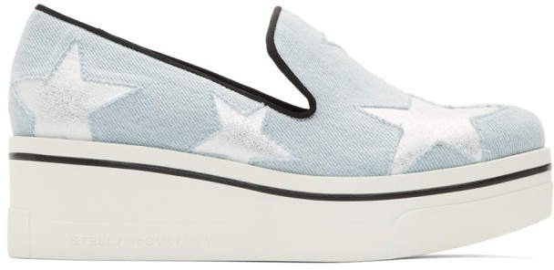Stella McCartney Blue Denim Binx Stars Slip-On Sneakers