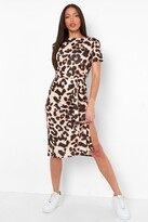 Thumbnail for your product : boohoo Tall Side Split Belted Leopard T-shirt Dress