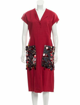 Bottega Veneta Embellished Midi Dress Red