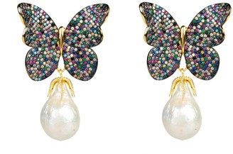 Latelita Baroque Pearl Multi Coloured Butterfly Earrings Gold
