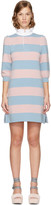 Marc Jacobs Pink and Blue Striped Puff Sleeve Dress