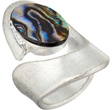 Robert Lee Morris Silver and Abalone Cut Out 7.5 Ring Ring