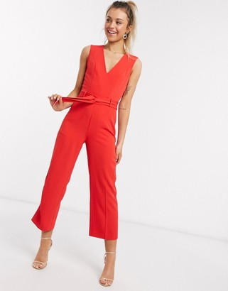 Morgan jumpsuit with belt in red