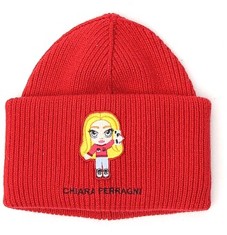 Chiara Ferragni Logo Patch Ribbed-Knit Beanie